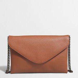 J. Crew Leather Envelope Clutch Chain Shoulder Bag